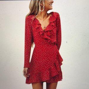 Forever 21 Red Polka Dot Wrap Dress